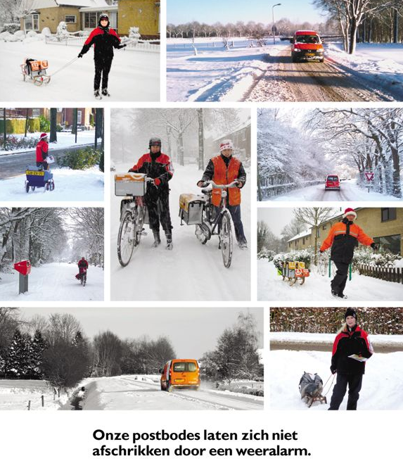 TNT Post Postbodes in de sneeuw reclame dagbladgoud advertentie